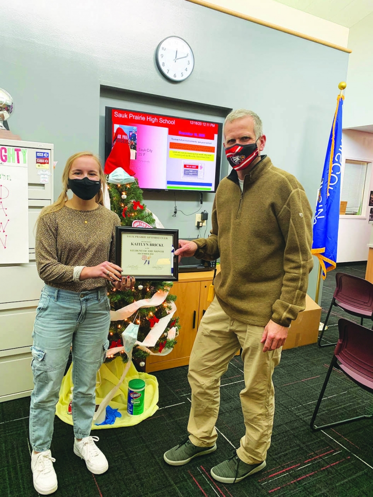 Kaitlyn (Kaitie) Brickle, a senior at Sauk Prairie High School, and daughter of Faye and Scott Brickl was honored at the January 6 Optimist Zoom...