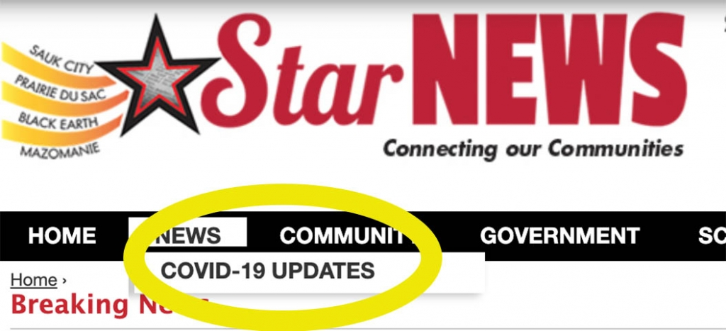 """For all COVID-19 news updates and local resources click here, or navigate to the COVID-19 link under """"News"""" in the main menu."""
