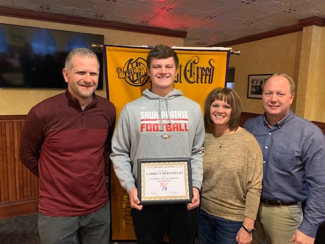 Garrett Hertzfeldt, son of Mark and Shelley Hertzfeldt, was selected by Sauk Prairie High School as the December Optimist of the Month and...